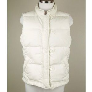 J CREW white full zip button toggle puffer vest M